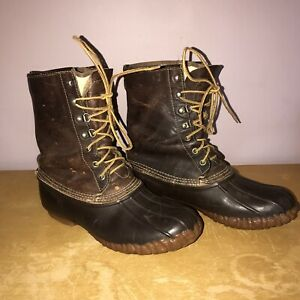 VINTAGE LACROSSE GORETEX DARK BROWN LEATHER DUCK BOOTS sz 10 made in USA
