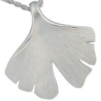 Halsschmuck Damen Anhänger Ginkgoblatt aus 925 Silber Sterlingsilber, matt