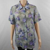 Vtg 80s Expose Womens Sheer Floral Button Crinkle Shirt Blouse Petite Medium M