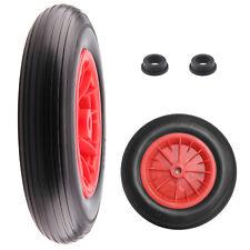 "PU 14"" BLACK Puncture Proof Solid 3.50-8 wheelbarrow wheel complete FOAM FILLED"