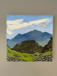 Welsh art oil painting - Snowdon - Landscape inspired by Kyffin Williams