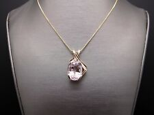 14k Yellow Gold 21ct Oval Cut Kunzite Solitaire Dangle Drop Necklace 18 inch