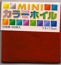 100 Sheets Japanese Origami Foil Paper 12 Colors 3 Inches #9318 S-3601