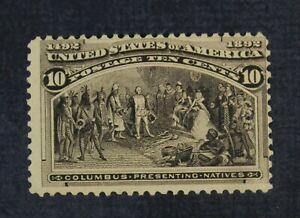 CKStamps: US Stamps Collection Scott#237 10c Columbian Mint H OG Thin