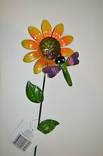 "Indoor Outdoor Garden Tin Metal Stake Sun Flower Sign w/ Dragon Fly 21""h #12"