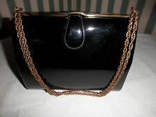 VINTAGE HARRY ROSENFELD PURSE BLACK PATTENT LEATHER GOLD TONE TRIM & CHAIN