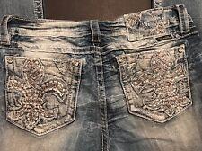 MISS ME Jeans Signature Boot Cut Denim Crystal Fleur De Lei Sz 29 Or 30