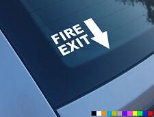 FIRE EXIT FUNNY CAR STICKER EXHAUST EVO SCOOBY SUBURU JDM DUB JAP DRIFT BUMPER