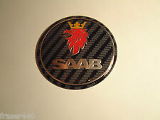 SAAB  CARBON STYLE Boot Badge 9-3 03-12 & 9-5 97-10 68mm/63mm FREE UK P&P