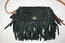 Neiman Marcus Coach 1941 Rivets Floral Fringe Dinky Leather Bag 87456 Black