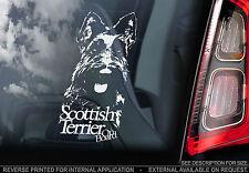 Scottish Terrier - Car Window Sticker - Scottie Dog on Board Art Scotty Sign