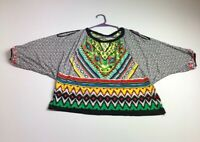 Beige ECI Women's ¾ Dolman Sleeve Blouse Top Large L Colorful Abstract Bold
