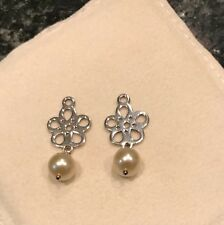 PANDORA .925 Sterling Silver Flower White Pearl Compose Earring Charms #290617P