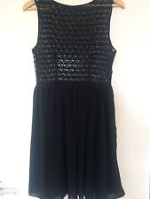 american apparel Floaty Chiffon Black Lace Skater Dress Size M
