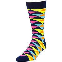 Mens George Fashion Crew Dress Socks Neon Geo Triangles 1 Pair Size 6-12