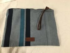 MASSIMO DUTTI - Blue Canvas Striped , Leather Trim Clutch Bag Unused