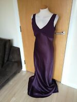 Ladies BHS Dress Size 12 Plum Long Maxi Party Evening Cruise Occasion