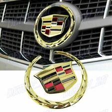 "For Cadillac Front Grille 6"" Emblem Hood Badge Gold Logo Chrome Symbol Ornament"