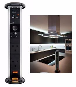 13A 2G Kitchen Pop Pull Up Socket With Built In Bluetooth Speaker & USB Charger