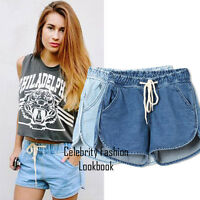 sh47 CFLB Trendy Low Rise Drawstring Ladies Denim Shorts Hotpants Size 8 10 12