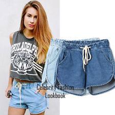 sh47 CFLB Trendy Low Rise Drawstring Ladies Denim Shorts Hotpants Size 8 10 12