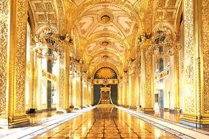 10x8ft Retro Palace Gallery Gold Pillars Photography Background Vinyl Backdrop