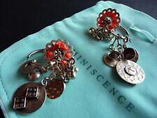 Reminiscence orecchini con pendagli in metallo e nastro color fucsia