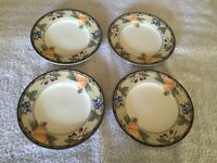 """Mikasa Garden Harvest 4 Saucers Only 6 5/8"""" CAC29 Fruit Leaves Cream (J)"""