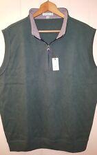 NEW Peter Millar Melange Quarter Zip Pullover Vest Medium Green