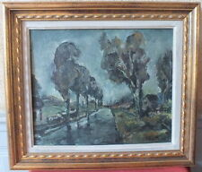 pintura cuadro óleo sobre lienzo canal años 50 firmado