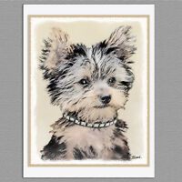 6 Yorkshire Terrier Puppy Yorkie Blank Art Note Greeting Cards