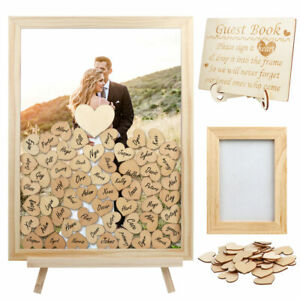 Personalised Wedding Guest Book with 80 Blank Hearts Wood Drop Box & Photo Frame