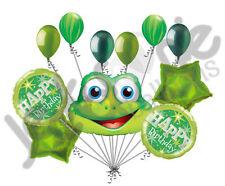 11pc Funny Green Frog Happy Birthday Balloon Bouquet Decoration Amphibian Jungle