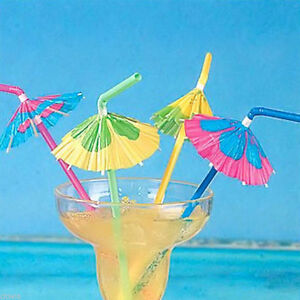 20Pcs Cocktail Umbrella Hawaiian Beach Drinking Straw Party Bar Kitchen Supplies