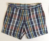 "Men Polo Ralph Lauren Classic Fit Tartan Madras Plaid Flat Casual Golf Shorts 6"""