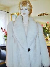 NWT GENUINE NATURAL RANCH WHITE FOX FUR COAT STROLLER JACKET ITALY  MEDIUM