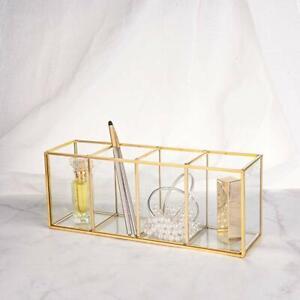 Vintage Brass Gold Glass Makeup Brush Holder Vanity Cosmetic Desktop Organizer