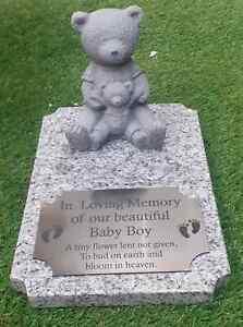 Personalised Baby Granite Memorial Stone Teddy Bear Grave Marker Baby Headstone