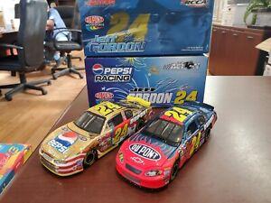 Lot of 2 Jeff Gordon #24 DuPont/ Pepsi Gold Chrome 1:32 Diecast Cars Action MIB