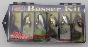 Vintage Mepps Basser Kit 6 Fishing Lures Spinners Fish Aglia Black Fury Bass