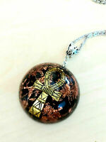 Orgone Orgonite Egyptian pendant Ankh Cross, Black Tourmaline, Shungite, unisex,