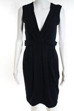 Prada Navy Blue Cotton Sleeveless V Neck Stretch Cocktail Dress Size Small