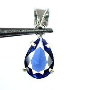 Natural 6.85 Ct Pear Blue Tanzanite 925 Sterling Silver Pendant Certified L9524
