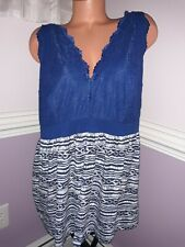 Cacique Nightie Sz 22/24 2X 3X Cami Tank Top Nightgown blue black lace womens