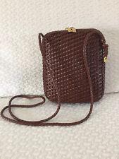 CEM Woven Leather Crossbody Saddle Brown Bag