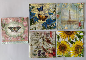 Paper Napkins Art Decoupage Craft ROMANTIC Flowers  Roses 🌹 🦋 LOT OF 10 Unused