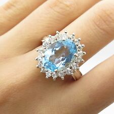 925 Sterling Silver Large Real Blue & White Topaz Gemstone Ring Size 8 1/4