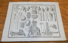 1822 Antique Print///WEAPONS AND WAR MACHINES