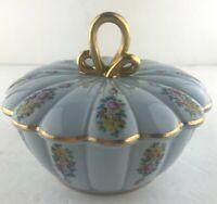 Vintage Laurelton Ware Fondeville NY Fine China Lidded Powder Bowl Floral Blue