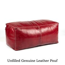 Wine Red Moroccan Pouf,rectangular Leather Moroccan Pouf Handmade Ottoman Foot
